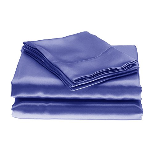 Evolive Luxury bed Silky Smooth Satin Sheet Set (King, Navy Blue)