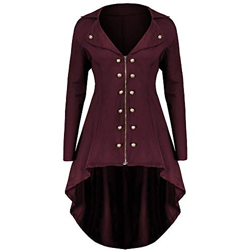(MILIMIEYIK Women Vintage Jacket Steampunk Gothic Coat Hooded Oversized Overcoat Autumn Winter)