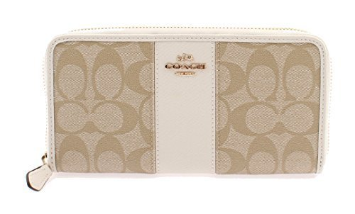 Coach Signature PVC Leather Accordian Zip Wallet F54630 Light Khaki/Chalk by Coach