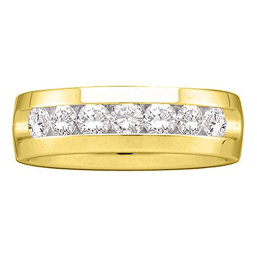 Jewels By Lux 14kt Yellow Gold Mens Round Channel-set Diamond Wedding Band Ring 1-1/2 Cttw (I1 clarity; H color) 14kt Gold Channel Set Band