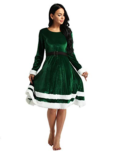 Freebily Womens Christmas Mrs Santa Claus Velvet Fancy Dress Holiday Party Costume Green X-Large -