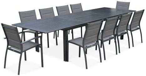 Salon de Jardin Table Extensible - Odenton Anthracite ...