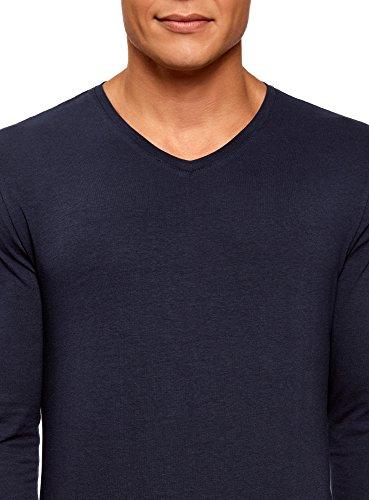 Con Maniche T V Blu Lunghe Scollo Ultra Oodji shirt 7901n Uomo Etichetta A Senza XxC0Cwgq