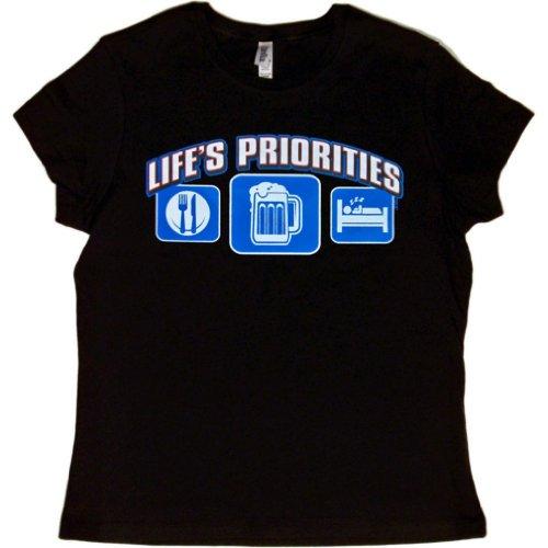JUNIORS T-SHIRT : BLACK - L - Lifes Priorities Eat Sleep (T-shirts Lifes Priorities Beer)