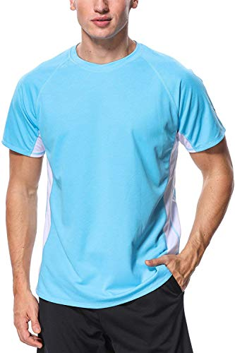 Male Rash Tee Shirt Sun Protection Bathing Suit Tee Rash Guard UV Basic Shirt L