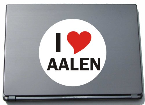 I Love Aufkleber Decal Sticker Laptopaufkleber Laptopskin 210 mm mit Stadtname AALEN
