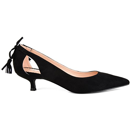 Brinley Co. Womens Pointed Toe Cut-Out Pump Black, 9 Regular US ()