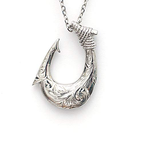 - Hawaiian Fish Hook Necklace by Austaras - Necklace Pendant for Men and Women - 925 Sterling Silver Hypoallergenic Jewelry with Chain Made of 316L Stainless Steel