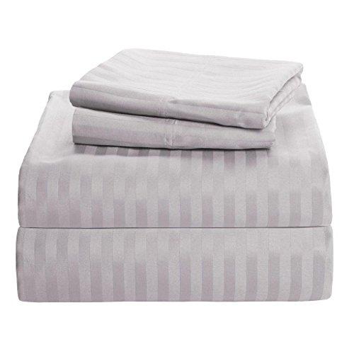 - Rajlinen 600 Thread Count Luxurious 100% Egyptian Cotton Set of 4 Pcs (1 Fitted sheet,1 Flat Sheet, 2 Pillows covers) by (Light Grey Stripe, Short Queen 60