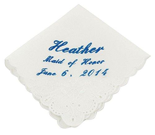 Wedding Collectibles Cursive Custom Maid of Honor Wedding Handkerchief