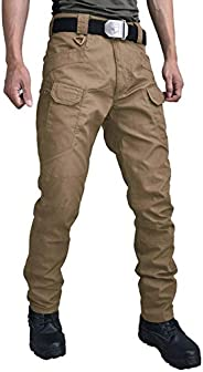 Les umes Mens Tactical Cargo Pants Lightweight Teflon Ripstop Military Outdoor Work Trousers for Hiking