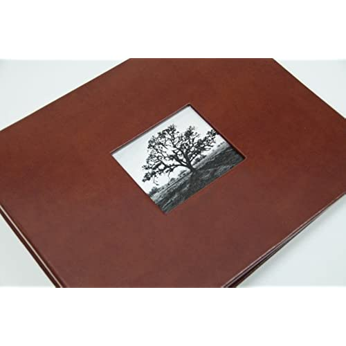 Guest Book With Photo Frame Cover Lined Pages Brown Leather High