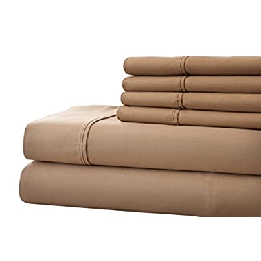 Spirit Linen 6 Piece Hotel 5th Ave Platinum Collection King 1000 Thread Count Sheet Set, Taupe