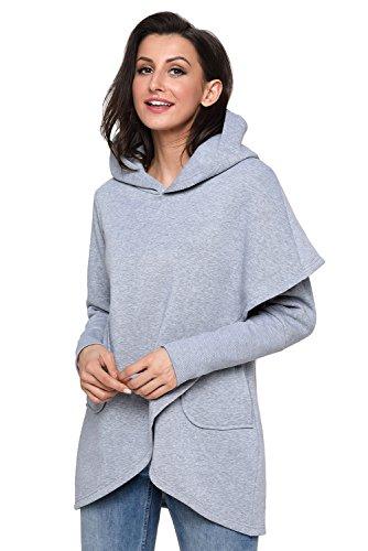 Huusa Sexy Womens Asymmetric Hem Hoodie Long Sleeve Sweatshirt Tops XL Grey