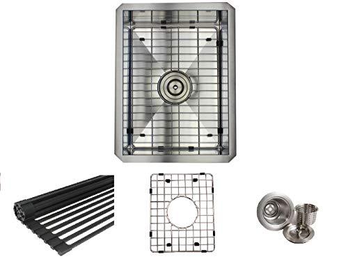 15 INCH Zero Radius Design 16 Gauge Undermount Single Bowl Stainless Steel Kitchen Bar Prep Island Sink Premium Package (15 INCH) KKR-F1520