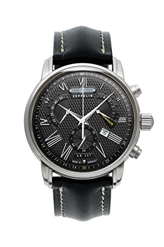 Zeppelin LZ127 Transatlantic Swiss-made Chronograph Men's Date Watch Black 7682-2