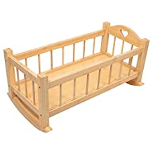 Large Wooden Rocking Dolls Cradle Crib Cot Bed Toy