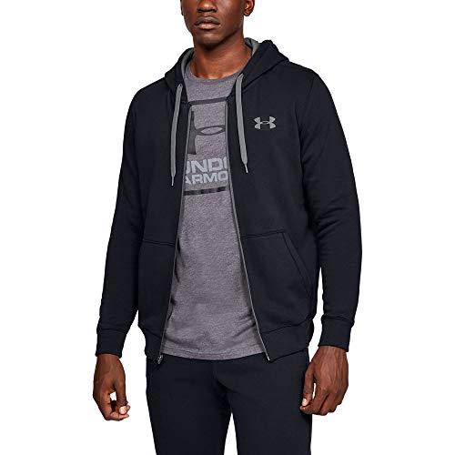 (Under Armour Men's Rival Fleece Fitted Full Zip Hoodie,Black /Graphite, Medium)
