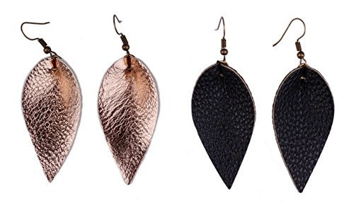 L&N Rainbery 2 Pairs Petal Leather Earrings Faux Leather Teardrop Earrings Leaf Drop Earrings (Rose - Ring Blonde Antique