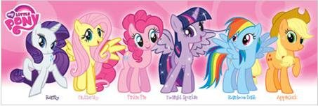 My Little Pony (Pink) Characters 36x12 Art print poster Girl Kids Wall Decor Rarity Fluttershy Pinkie Pie Twilight Sparkle Rainbow Dash Apple (Rainbow Dash Wall)