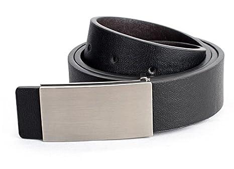 56a96978c7ab1 Cinturón de cuero para hombre con hebilla plateada satinada y 110 CM mod.  TODAY - Negro: Amazon.es: Hogar