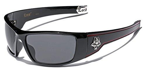 045eea9f26c Large OG Locs Dark Lens Sunglasses - Black   Red