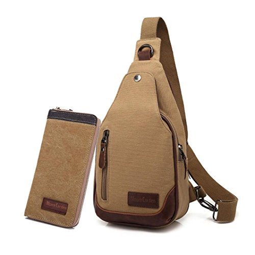 MOORE CARDEN Fashion Men's Canvas Cross body Pack of Wallet Daypack Chest Pack Sports Bag Satchel Shoulder Bag(Khaki)