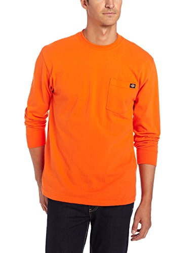 Dickies Men's Long Sleeve Heavyweight Crew Neck, Orange, X-Large