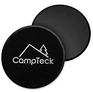 CampTeck 2X Dual Sided Gliding Discs Core Sliders for Home Fitness Workout, Abdominal & Full Body Exercises for Use on Carpet & Hard Floors (Black)