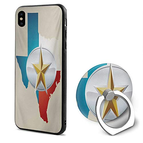 Texas Star iPhone x Cases,Cowboy Belt Buckle Star Design with Texas Map Southwestern Parts of America Multicolor,Mobile Phone Shell Ring Bracket
