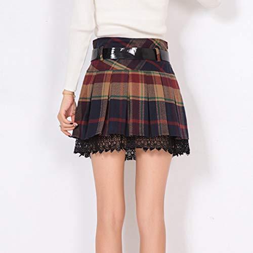 Eclair Pour Automne Hiver Rouge Mini Plissées Minceur Clubwear Mode À Taille Haute ligne Rétro A Jupes La Fermeture Fête Plus Carreaux Casual 2 Femme Jupe RUngRH