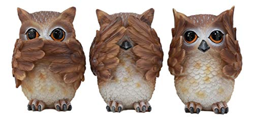 Ebros See Hear Speak No Evil Wise Owls Figurine Decor Set Wisdom of The Woods Wise Great Horned Owls Collectible Statue ()