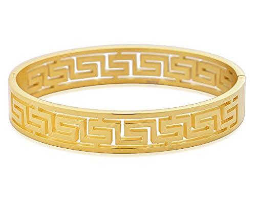 My Daily Styles Stainless Steel Yellow Gold-Tone Greek Key Oval-Shape Cuff Bangle Bracelet