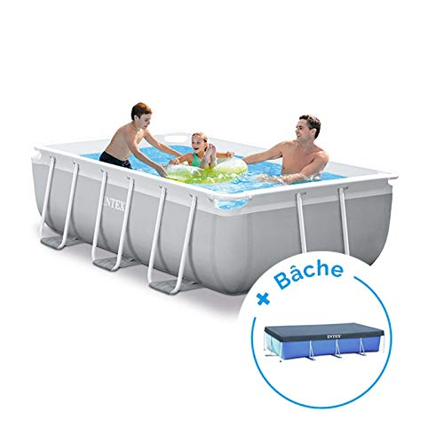 RAVIDAY Pack Piscine Tubulaire Intex Prism Frame 3 x 1,75 x 0,8 m + Bâche
