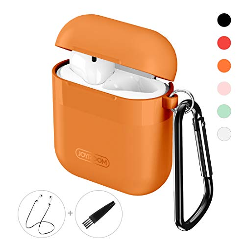 Joyroom AirPods Case Cover, Premium Protective Skin for Apple AirPods Charging Case (Also Fit Latest Mode AirPods 2), with Keychain, Cleaning Brush, Anti-Lost Silicone AirPods Strap - Orange