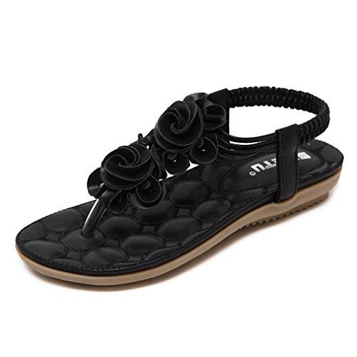 (U-MAC Women's Casual Slingback Summer Beach Thong Beach Flower Ankle Strap Flat Sandal)