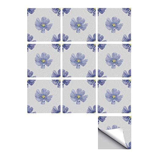 C COABALLA Garden Decor Stylish Ceramic Tile Stickers 10 Pieces,Artistic Watercolor Violets Botanical Romantic Tender Seasonal Field Pattern for Kitchen Living Room,5