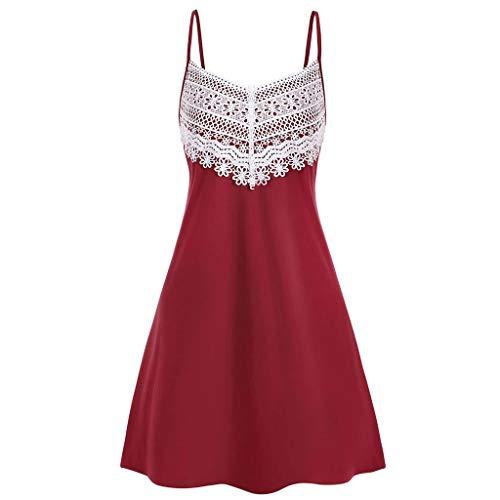 Aniywn Women's Summer Spaghetti Straps Dress Lace Patchwork Flare Swing Sundress Sleeveless Backless Mini Dress (L, Red)