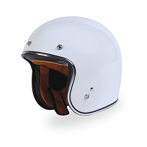 TORC (T50 Route 66) 3/4 Motorcycle Helmet with Solid Color (Gloss White) (Route 66 Visor)
