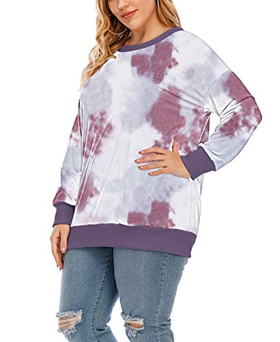 YASAKO Womens Plus Size Casual Tie Dye Camo Print Long Sleeve Shirts Crew Neck Loose Fit Sweatshirt Pullover Tops (Tie Dye-C, 3X-Large)