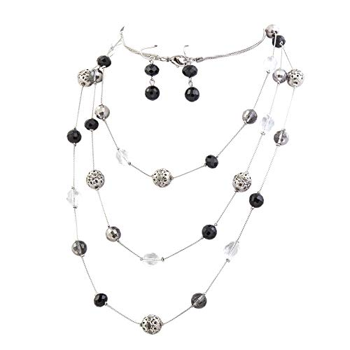 Bocar New Beautiful Fashion 3 Layer Handmade Jewelry Set Long Illusion Necklace (Plated Silver-Black)