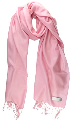 100% Cashmere Lightweight Shawl Scarf Travel Wrap Stole with Gift Box (Pink)