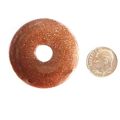 Brown Goldstone Sandstone Donut Pendant 40mm