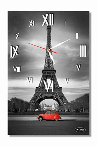 dudkaair Paris Eiffel Tower 18 x 11 Handmade Wall Clock – Get Unique d cor for Home or Office Best Gift Ideas for Kids, Friends, Parents and Your Soul Mates