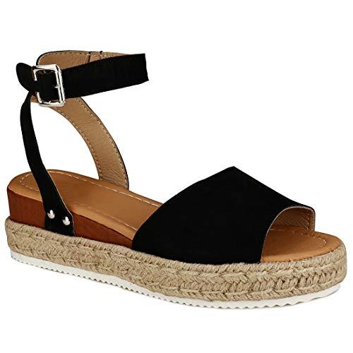 c0963880b YYW Women\'s Ankle Strap Open Toe Wedge Platform Sandals Summer Cork  Espadrille Flatform