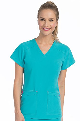 (Med Couture Air Scrub Top Women, V-Neck, Teal/Watermelon, XX-Large)