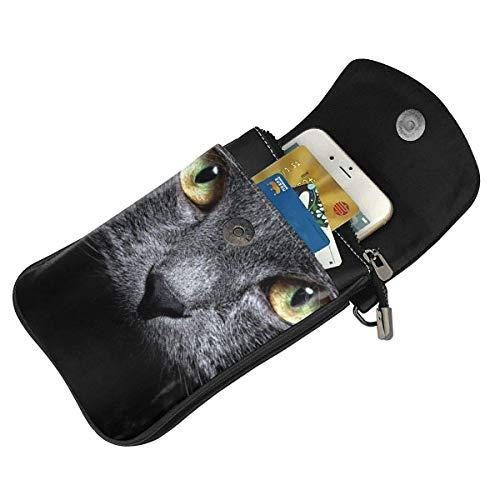 Hdadwy mobiltelefon crossbody väska katter kvinnor PU-läder mode handväska med justerbar rem