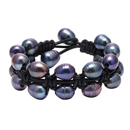 Handmade Dyed Peacock Blue Cultured Pearls Bracelet on Black Leather Cord for Men and Women