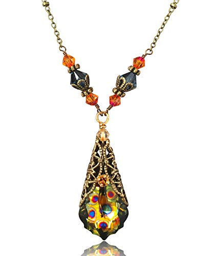 (HisJewelsCreations Baroque Crystal Filigree Pendant Necklace (Peacock) )