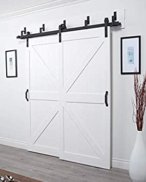 5FT //60 2 Doors Track Kit WINSOON 5-18FT Sliding Barn Wood Door Hardware Cabinet Closet Kit Antique Style for Double Doors Black Surface